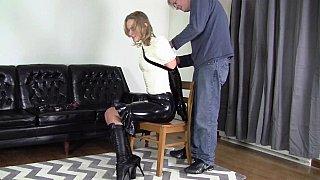 Bondage fun with a kinky blonde