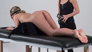 Bondage massage, amateur forced to cum