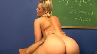 Fabulous blonde babe Alexis Texas rides cock on the teacher's table