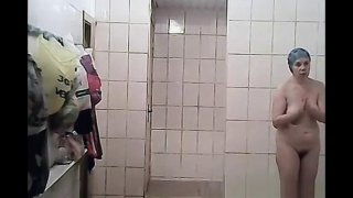 public shower room with mature Moms