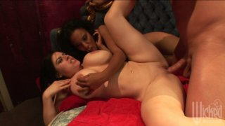 Busty chicks Soleil & Daphne Rosen please a long and hot dick