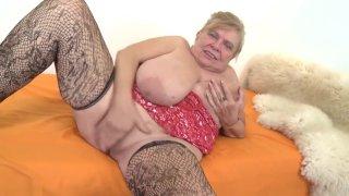 Fat chubby grandma Darla masturbating.