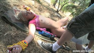 Curvy blonde whore Shelby Angel gets tied up and drilled by fucking machine