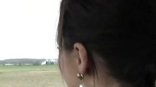 Tight brunette teen Lea Guerlin gets fucked in the car