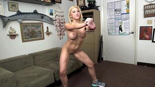 Athletic chick Cristi Ann demonstrates her flexibility