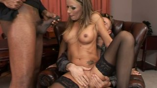 Hardcore anal drilling action in a threesome fuck video starring Vivian