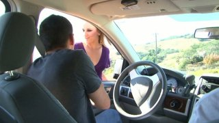 Horny studs Oliver Saint and Tyler Torro pick up Jessie Cox on a street and fuck her hard in a threesome