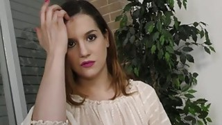 Chick is caught masturbating before giving POV handjob