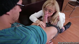 Milf teacher Nina Hartley enjoys sucking Xander's Corvus young cock