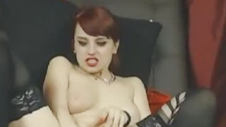 Flexible redhead squirter pounded in black stockings