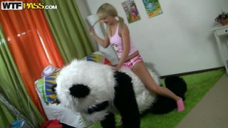 Adorable teen girl is playing dirty games