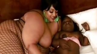 Ebony BBW and midget having lesbian sex with favorite sex toy