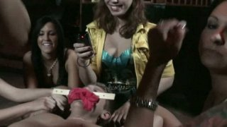 Slutty Ashdon James and her girlfriends celebrate birthday with one cock