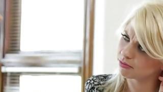 Busty MILF Nina Elle fucks hot blonde lesbian Tara Morgan with huge strapon