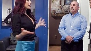 Huge boobs redhead pounds in office
