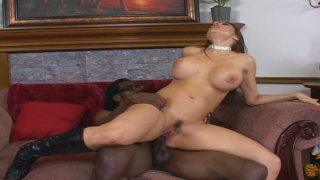 Palatable sex goddess Sheila Marie riding black cock with her tasty asshole
