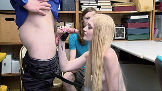 Blonde teen blowing security officer's dick