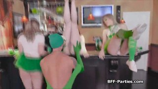 Foursome in green with perky teen besties